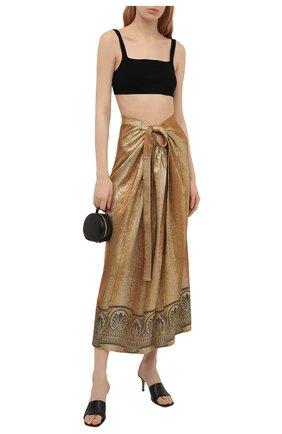 Женская юбка из вискозы PACO RABANNE золотого цвета, арт. 21EJJU203VI0270 | Фото 2