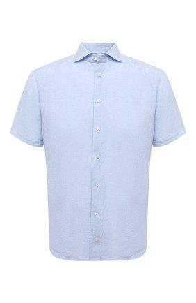 Мужская льняная рубашка ETON голубого цвета, арт. 1000 03066 | Фото 1 (Случай: Повседневный; Материал внешний: Лен; Стили: Кэжуэл; Длина (для топов): Стандартные; Рубашки М: Slim Fit; Рукава: Короткие; Воротник: Акула; Принт: Однотонные)