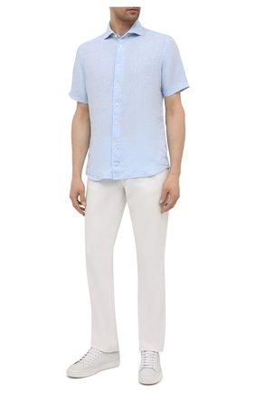 Мужская льняная рубашка ETON голубого цвета, арт. 1000 03066 | Фото 2 (Случай: Повседневный; Материал внешний: Лен; Стили: Кэжуэл; Длина (для топов): Стандартные; Рубашки М: Slim Fit; Рукава: Короткие; Воротник: Акула; Принт: Однотонные)