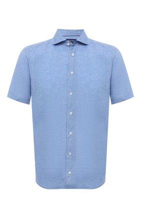 Мужская льняная рубашка ETON синего цвета, арт. 1000 03066 | Фото 1 (Стили: Кэжуэл; Рукава: Короткие; Материал внешний: Лен; Рубашки М: Slim Fit; Длина (для топов): Стандартные; Случай: Повседневный; Воротник: Акула; Принт: Однотонные)