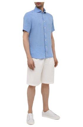 Мужская льняная рубашка ETON синего цвета, арт. 1000 03066 | Фото 2 (Стили: Кэжуэл; Рукава: Короткие; Материал внешний: Лен; Рубашки М: Slim Fit; Длина (для топов): Стандартные; Случай: Повседневный; Воротник: Акула; Принт: Однотонные)