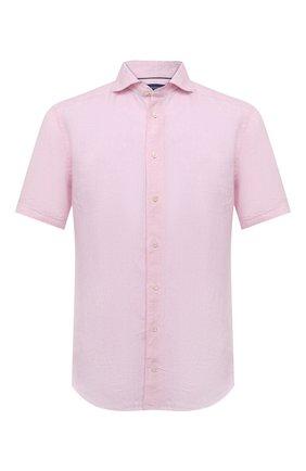 Мужская льняная рубашка ETON светло-розового цвета, арт. 1000 03066 | Фото 1 (Материал внешний: Лен; Стили: Кэжуэл; Рукава: Короткие; Длина (для топов): Стандартные; Случай: Повседневный; Рубашки М: Slim Fit; Принт: Однотонные; Воротник: Акула)