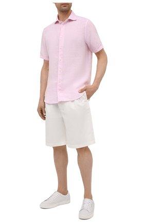 Мужская льняная рубашка ETON светло-розового цвета, арт. 1000 03066 | Фото 2 (Материал внешний: Лен; Стили: Кэжуэл; Рукава: Короткие; Длина (для топов): Стандартные; Случай: Повседневный; Рубашки М: Slim Fit; Принт: Однотонные; Воротник: Акула)