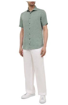 Мужская льняная рубашка ETON зеленого цвета, арт. 1000 03066 | Фото 2 (Материал внешний: Лен; Стили: Кэжуэл; Случай: Повседневный; Рукава: Короткие; Рубашки М: Slim Fit; Длина (для топов): Стандартные; Принт: Однотонные; Воротник: Акула)