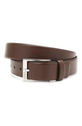 Мужской кожаный ремень HUGO темно-коричневого цвета, арт. 50385627 | Фото 1