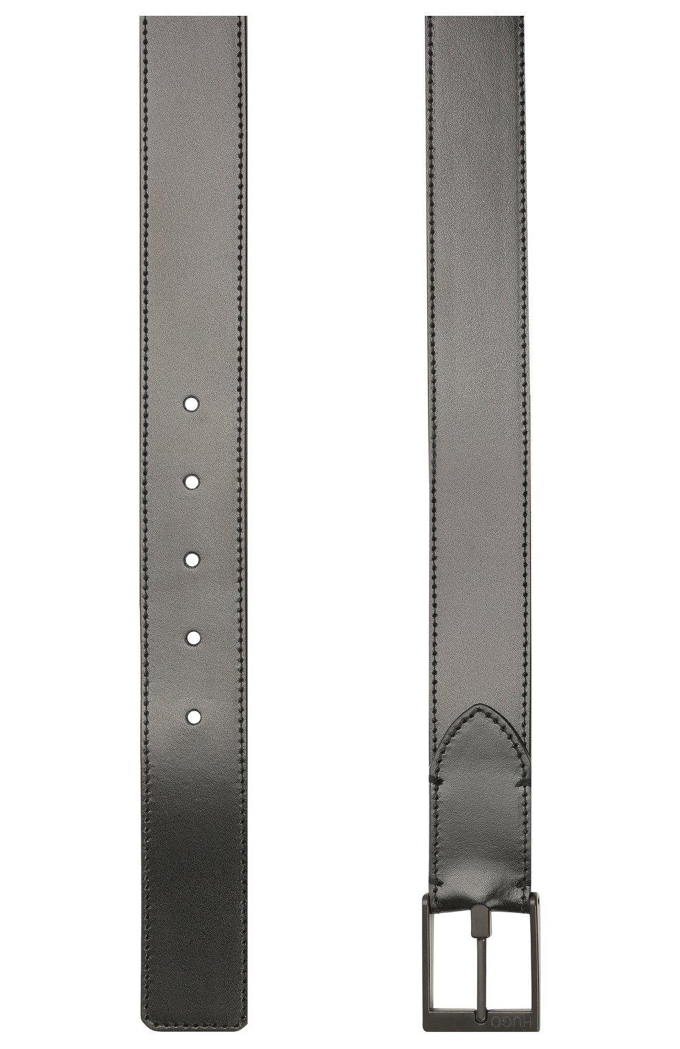 Мужской кожаный ремень HUGO черного цвета, арт. 50452269 | Фото 2 (Случай: Формальный)