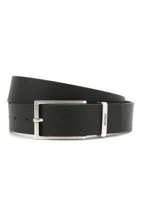 Мужской кожаный ремень HUGO черного цвета, арт. 50454918 | Фото 1 (Случай: Формальный)