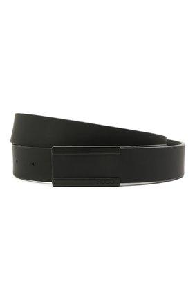 Мужской кожаный ремень HUGO черного цвета, арт. 50434608   Фото 1