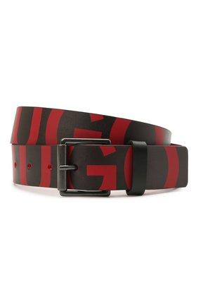 Мужской кожаный ремень HUGO красного цвета, арт. 50455982 | Фото 1