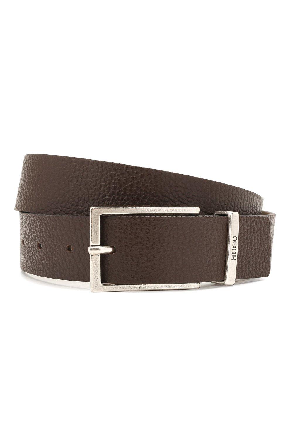 Мужской кожаный ремень HUGO темно-коричневого цвета, арт. 50454918 | Фото 1 (Случай: Формальный)