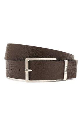 Мужской кожаный ремень HUGO темно-коричневого цвета, арт. 50454918 | Фото 1