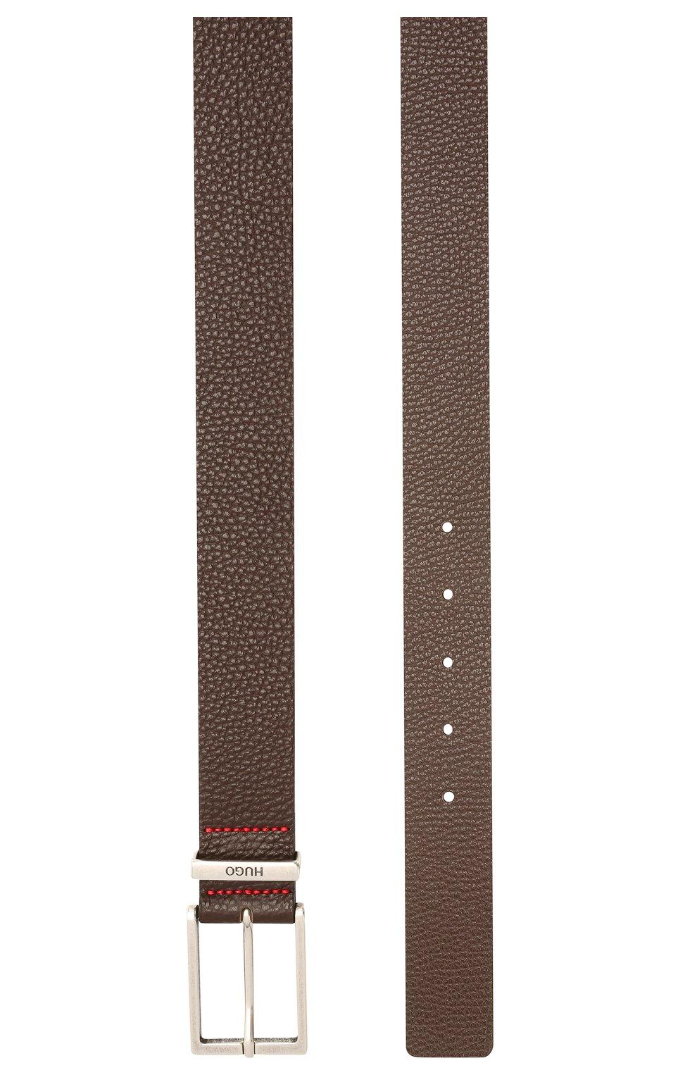 Мужской кожаный ремень HUGO темно-коричневого цвета, арт. 50454918 | Фото 2 (Случай: Формальный)