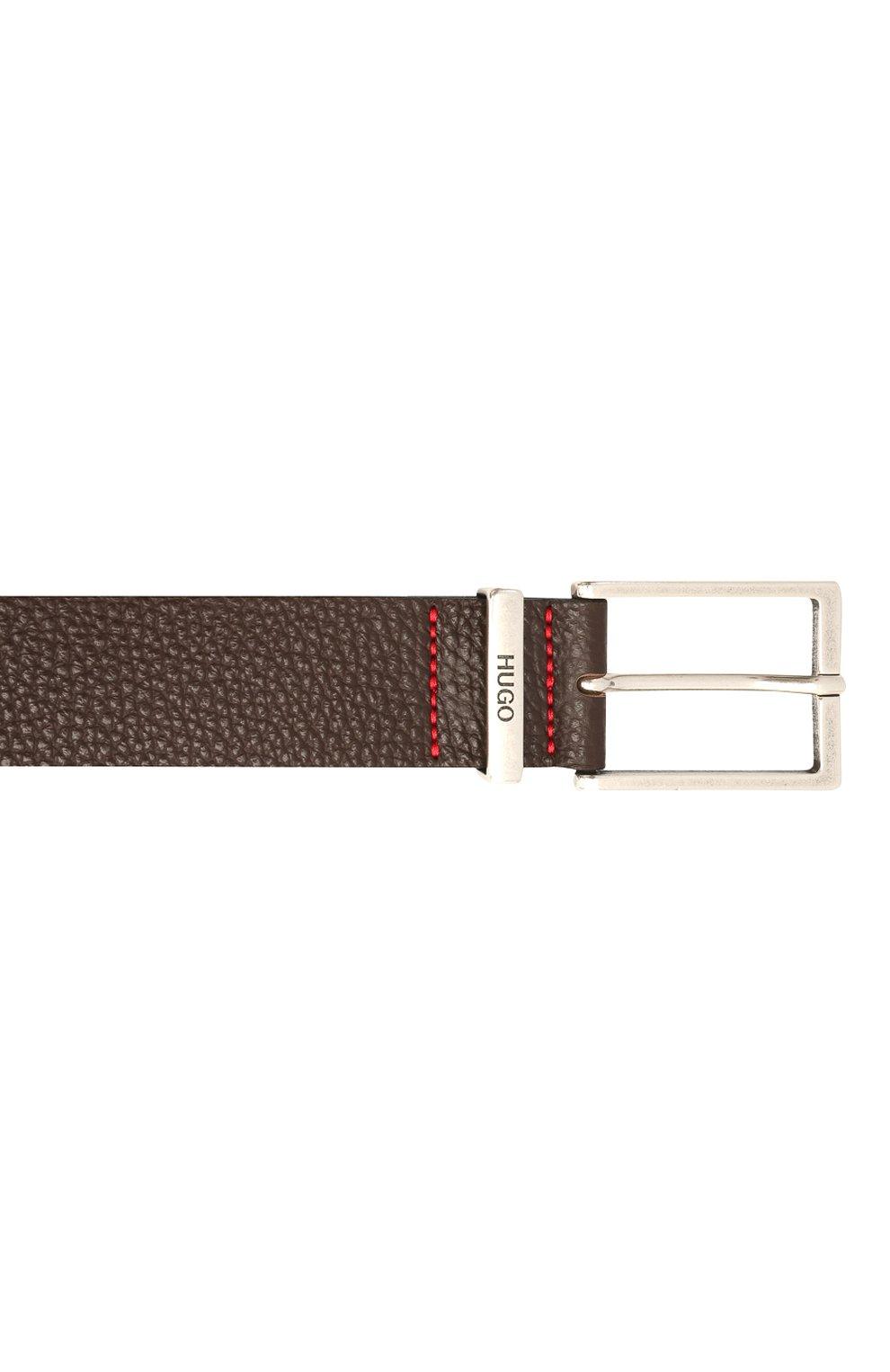 Мужской кожаный ремень HUGO темно-коричневого цвета, арт. 50454918 | Фото 3 (Случай: Формальный)