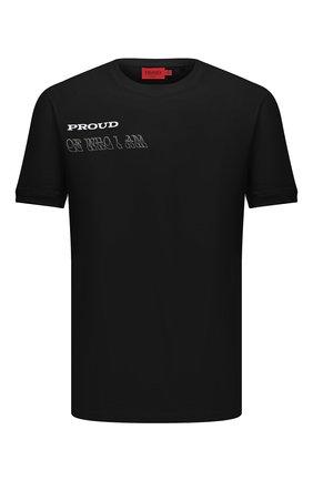 Мужская хлопковая футболка HUGO черного цвета, арт. 50460027 | Фото 1 (Рукава: Короткие; Стили: Кэжуэл; Материал внешний: Хлопок; Длина (для топов): Стандартные; Принт: С принтом)