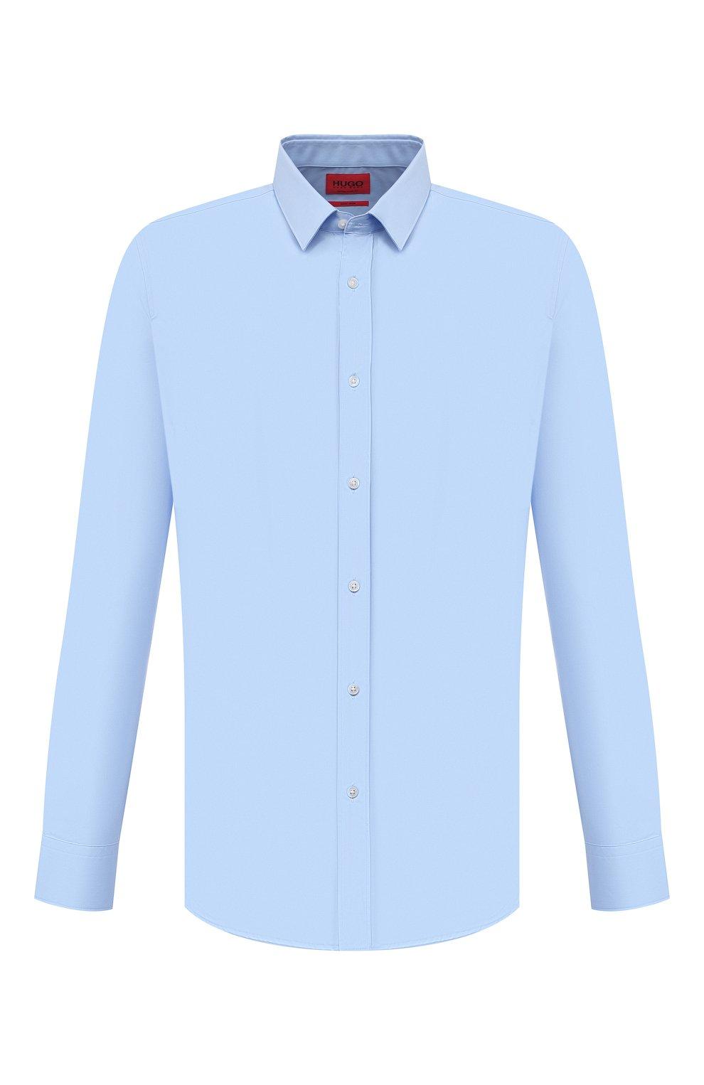 Мужская хлопковая сорочка HUGO голубого цвета, арт. 50450147 | Фото 1