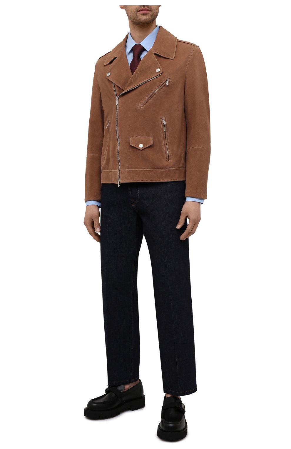 Мужская хлопковая сорочка HUGO голубого цвета, арт. 50450147 | Фото 2