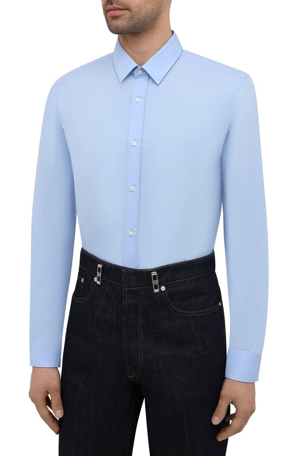 Мужская хлопковая сорочка HUGO голубого цвета, арт. 50450147 | Фото 3