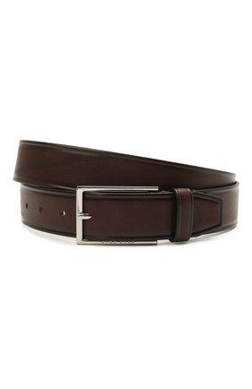 Мужской кожаный ремень BOSS темно-коричневого цвета, арт. 50455085 | Фото 1