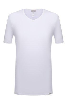 Мужская хлопковая футболка HANRO белого цвета, арт. 073000 | Фото 1 (Длина (для топов): Стандартные; Рукава: Короткие; Кросс-КТ: домашняя одежда; Мужское Кросс-КТ: Футболка-белье; Материал внешний: Хлопок)