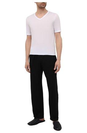 Мужская хлопковая футболка HANRO белого цвета, арт. 073000 | Фото 2 (Длина (для топов): Стандартные; Рукава: Короткие; Кросс-КТ: домашняя одежда; Мужское Кросс-КТ: Футболка-белье; Материал внешний: Хлопок)