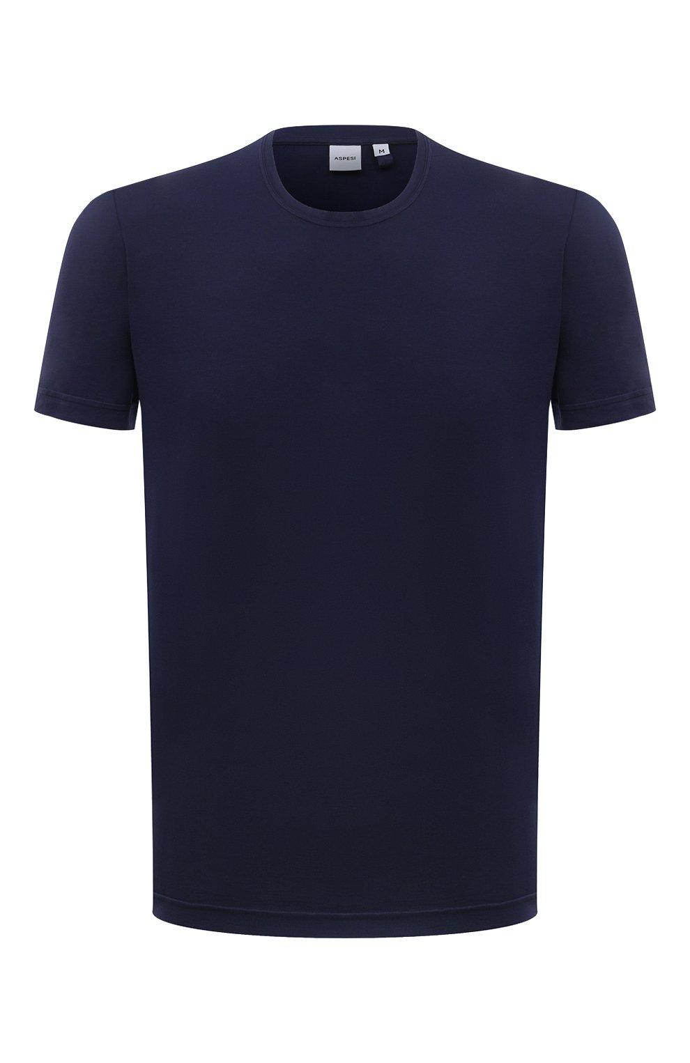 Мужская хлопковая футболка ASPESI темно-синего цвета, арт. S1 A 3107 C089 | Фото 1 (Принт: Без принта; Рукава: Короткие; Длина (для топов): Стандартные; Материал внешний: Хлопок; Стили: Кэжуэл)