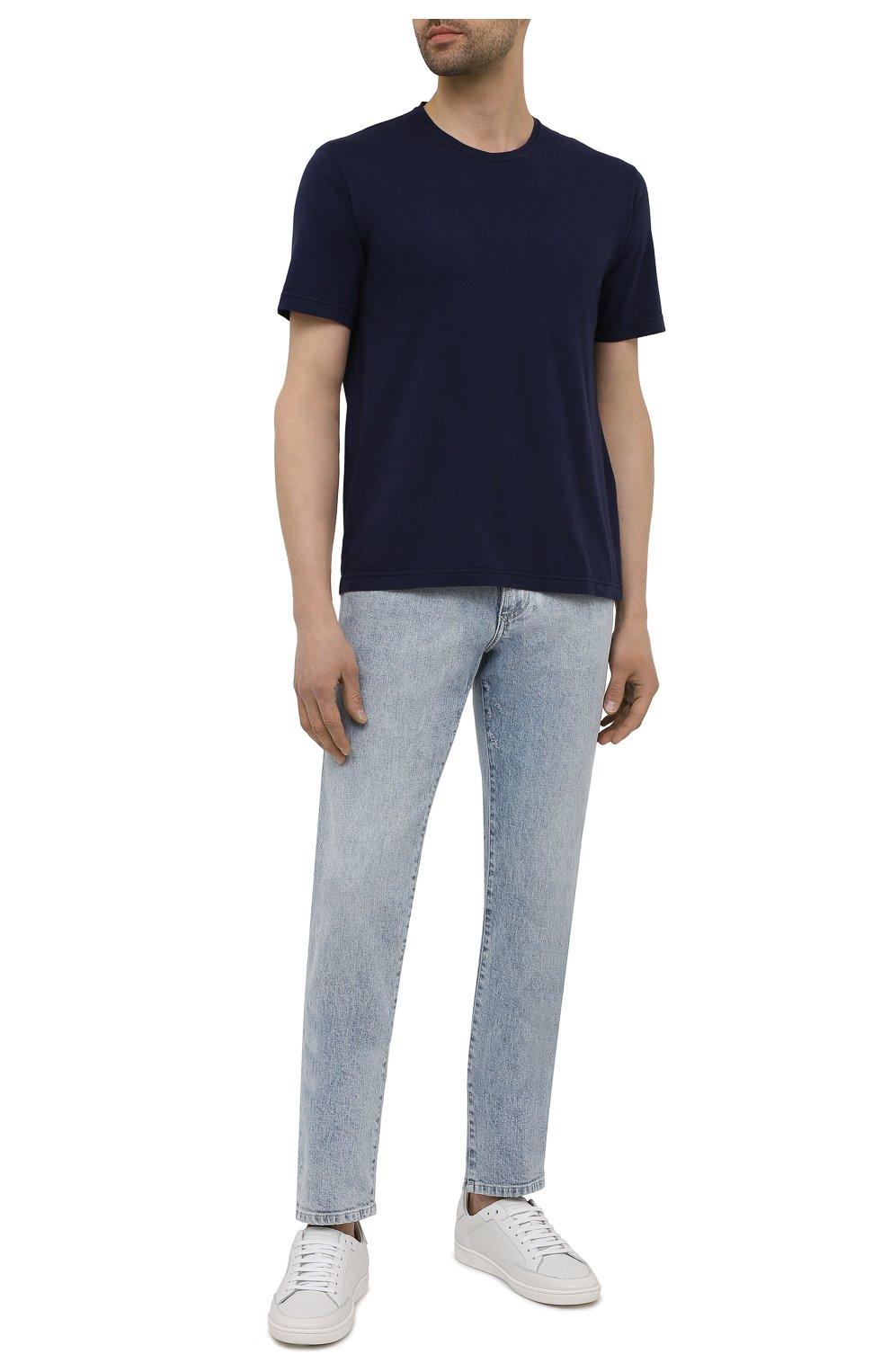 Мужская хлопковая футболка ASPESI темно-синего цвета, арт. S1 A 3107 C089 | Фото 2 (Принт: Без принта; Рукава: Короткие; Длина (для топов): Стандартные; Материал внешний: Хлопок; Стили: Кэжуэл)