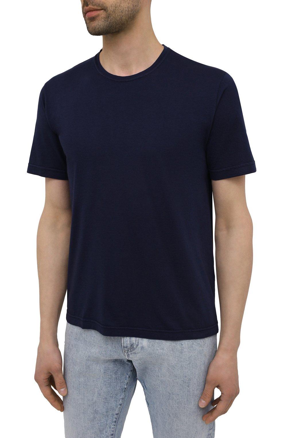 Мужская хлопковая футболка ASPESI темно-синего цвета, арт. S1 A 3107 C089 | Фото 3 (Принт: Без принта; Рукава: Короткие; Длина (для топов): Стандартные; Материал внешний: Хлопок; Стили: Кэжуэл)