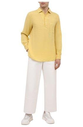 Мужская льняная рубашка LORO PIANA желтого цвета, арт. FAL6150 | Фото 2
