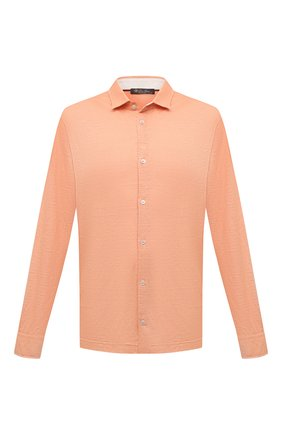 Мужская льняная рубашка LORO PIANA оранжевого цвета, арт. FAL6917 | Фото 1