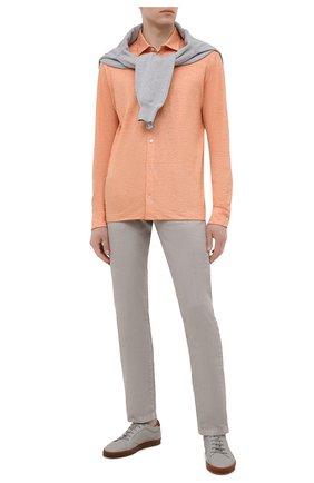 Мужская льняная рубашка LORO PIANA оранжевого цвета, арт. FAL6917 | Фото 2