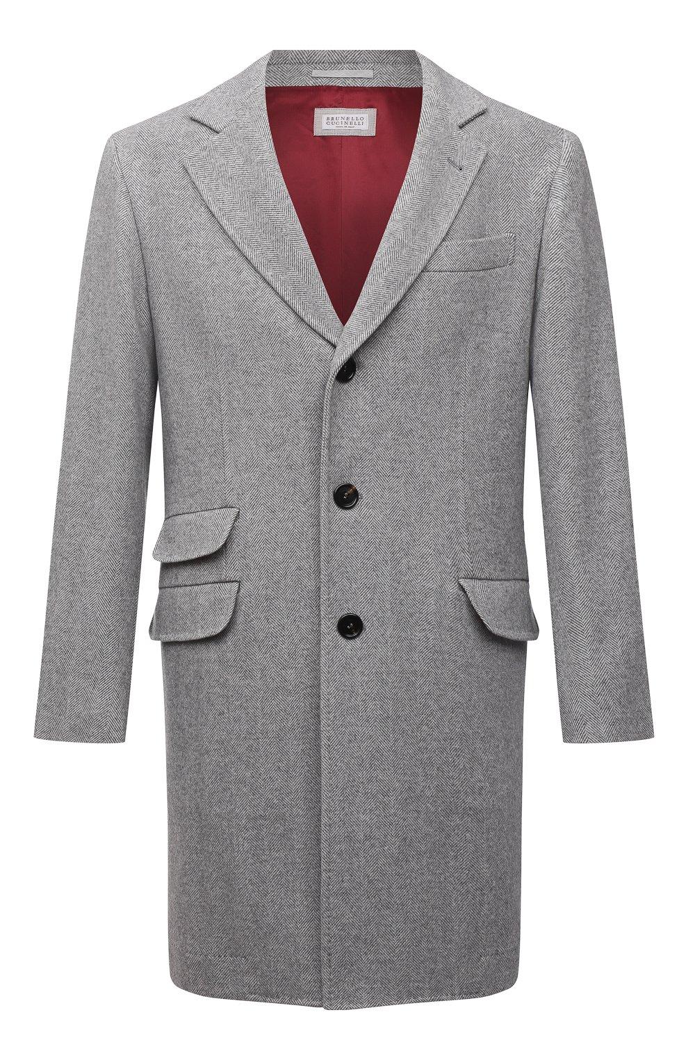 Мужской пальто из шерсти и кашемира BRUNELLO CUCINELLI серого цвета, арт. MQ4499039 | Фото 1