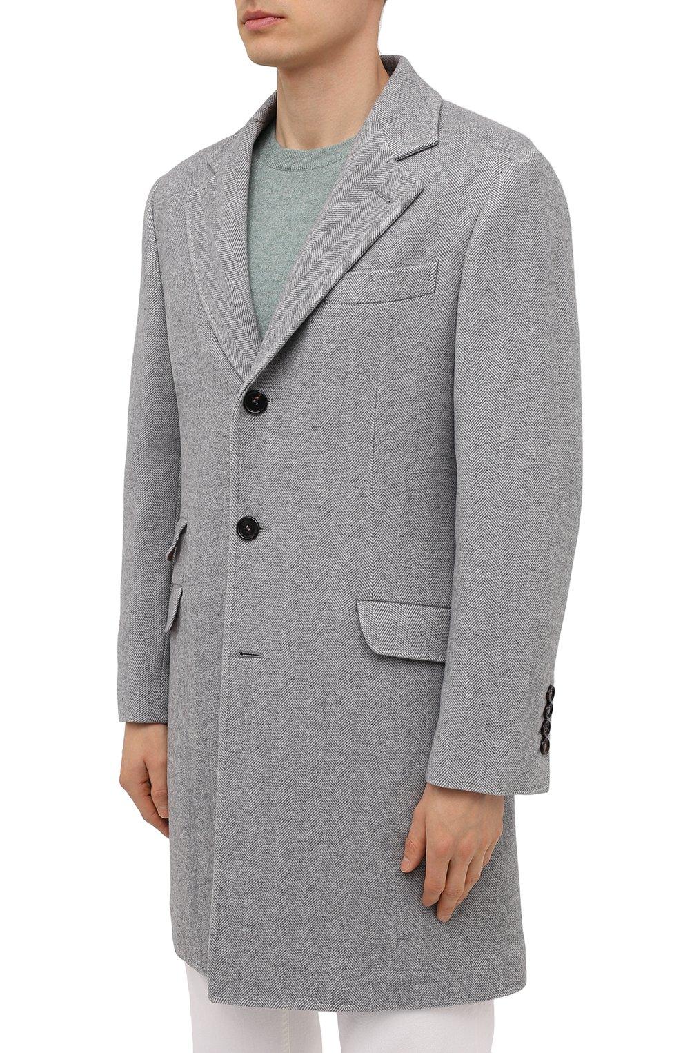 Мужской пальто из шерсти и кашемира BRUNELLO CUCINELLI серого цвета, арт. MQ4499039 | Фото 3