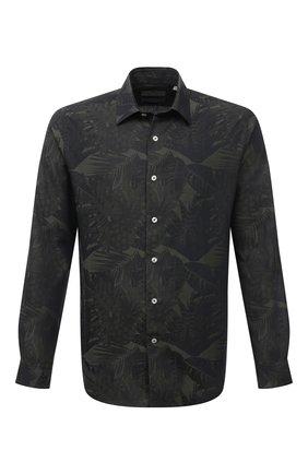 Мужская хлопковая рубашка CANALI темно-зеленого цвета, арт. L7C4/GY02145   Фото 1