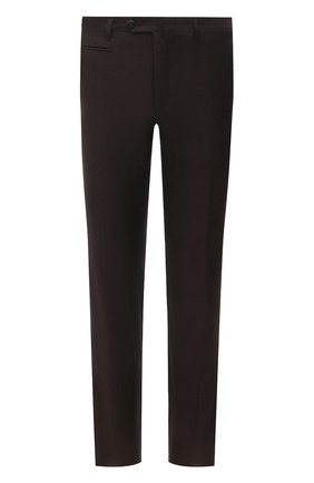 Мужские брюки из шерсти и льна CORNELIANI темно-коричневого цвета, арт. 875B05-1114165/02   Фото 1