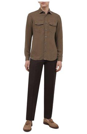 Мужские брюки из шерсти и льна CORNELIANI темно-коричневого цвета, арт. 875B05-1114165/02   Фото 2