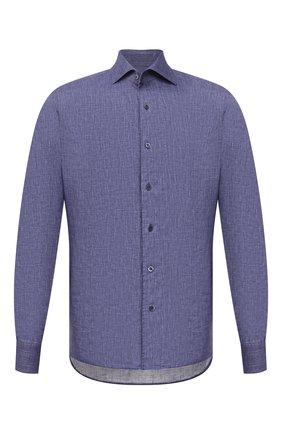 Мужская льняная рубашка CORNELIANI темно-синего цвета, арт. 87P126-1111912/00 | Фото 1