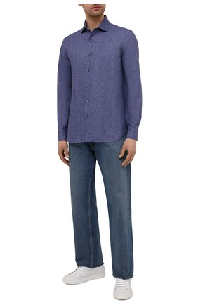 Мужская льняная рубашка CORNELIANI темно-синего цвета, арт. 87P126-1111912/00 | Фото 2