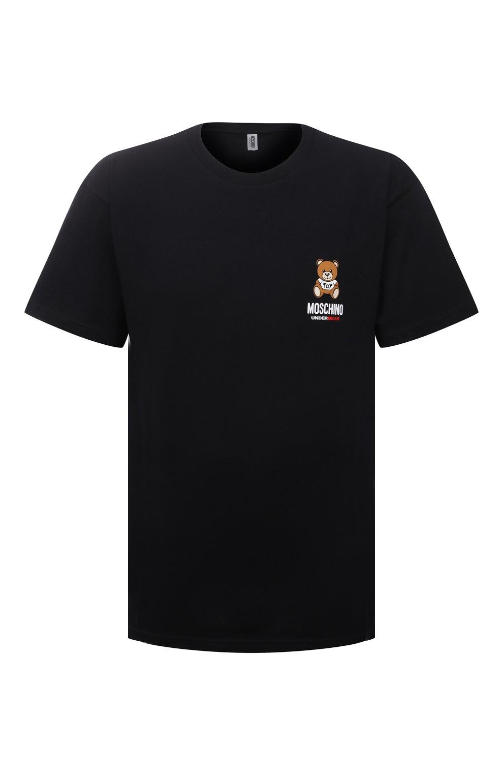 Мужская хлопковая футболка MOSCHINO черного цвета, арт. A1923/8125   Фото 1 (Кросс-КТ: домашняя одежда; Рукава: Короткие; Длина (для топов): Стандартные; Материал внешний: Хлопок; Мужское Кросс-КТ: Футболка-белье)