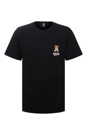 Мужская хлопковая футболка MOSCHINO черного цвета, арт. A1923/8125 | Фото 1 (Рукава: Короткие; Материал внешний: Хлопок; Мужское Кросс-КТ: Футболка-белье; Длина (для топов): Стандартные; Кросс-КТ: домашняя одежда)