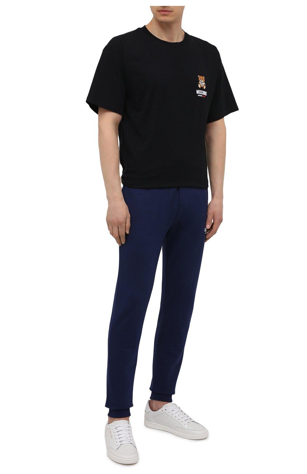 Мужская хлопковая футболка MOSCHINO черного цвета, арт. A1923/8125   Фото 2 (Кросс-КТ: домашняя одежда; Рукава: Короткие; Длина (для топов): Стандартные; Материал внешний: Хлопок; Мужское Кросс-КТ: Футболка-белье)