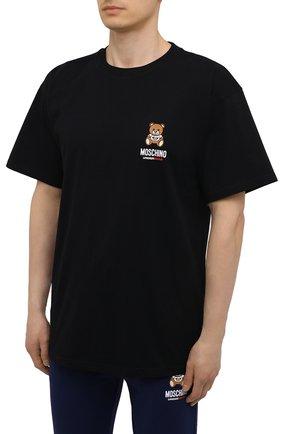 Мужская хлопковая футболка MOSCHINO черного цвета, арт. A1923/8125   Фото 3 (Кросс-КТ: домашняя одежда; Рукава: Короткие; Длина (для топов): Стандартные; Материал внешний: Хлопок; Мужское Кросс-КТ: Футболка-белье)