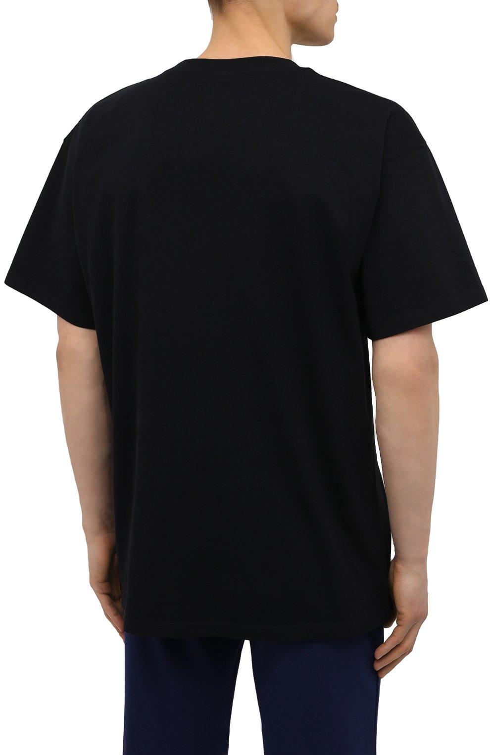 Мужская хлопковая футболка MOSCHINO черного цвета, арт. A1923/8125   Фото 4 (Кросс-КТ: домашняя одежда; Рукава: Короткие; Длина (для топов): Стандартные; Материал внешний: Хлопок; Мужское Кросс-КТ: Футболка-белье)