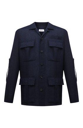 Мужская льняная куртка-рубашка BRIONI темно-синего цвета, арт. SLRP0L/P9111 | Фото 1