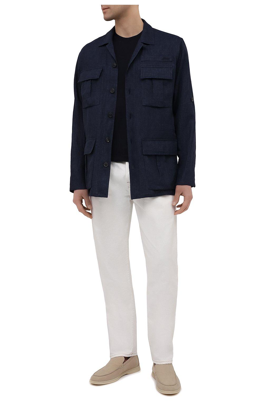 Мужская льняная куртка-рубашка BRIONI темно-синего цвета, арт. SLRP0L/P9111 | Фото 2