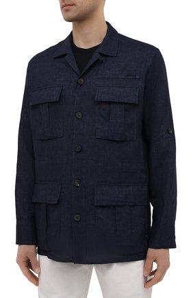 Мужская льняная куртка-рубашка BRIONI темно-синего цвета, арт. SLRP0L/P9111 | Фото 3