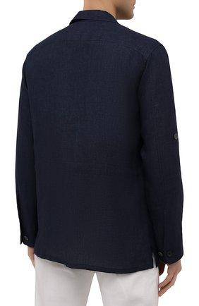 Мужская льняная куртка-рубашка BRIONI темно-синего цвета, арт. SLRP0L/P9111 | Фото 4