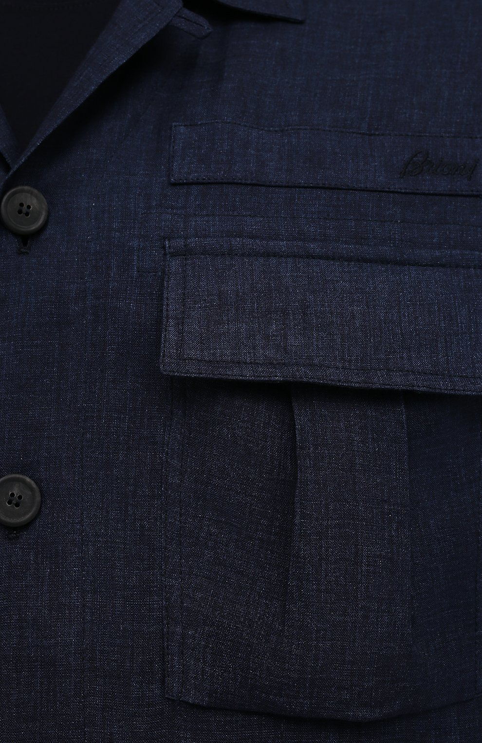 Мужская льняная куртка-рубашка BRIONI темно-синего цвета, арт. SLRP0L/P9111 | Фото 5