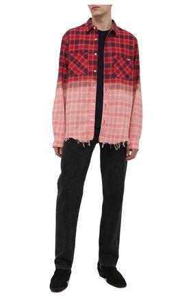 Мужская хлопковая рубашка AMIRI красного цвета, арт. MSL005-610   Фото 2
