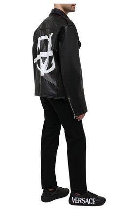 Мужские кожаные кеды greca VERSACE черного цвета, арт. DSU8404/DV51G | Фото 2