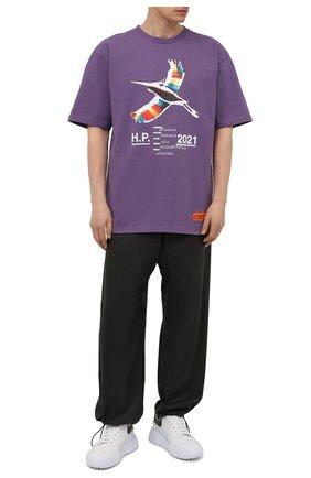Мужская хлопковая футболка HERON PRESTON фиолетового цвета, арт. HMAA026S21JER0023501 | Фото 2